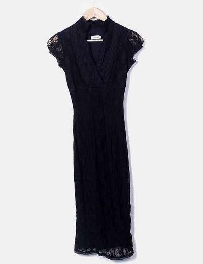 Vestido camisero negro de encaje Suiteblanco
