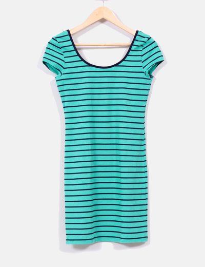 Vestido verde rayas azules  Bershka