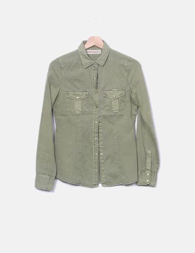 T-shirt vert à poches kaki Stradivarius