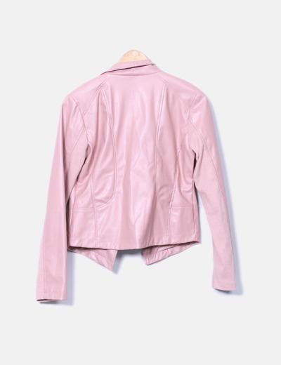 Chaqueta biker polipiel rosa