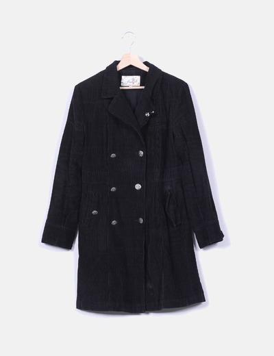 Manteau noir en velours côtelé Inside
