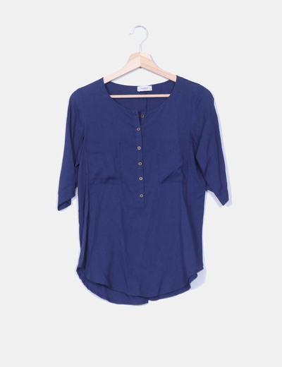 Camisa  abotonada azul  Pull&Bear