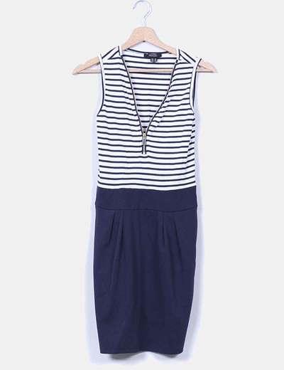 Vestido a rayas azul marino Esmara