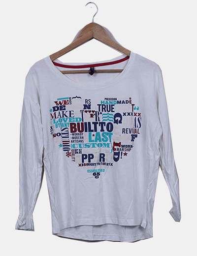 Camiseta manga larga blanca print letras