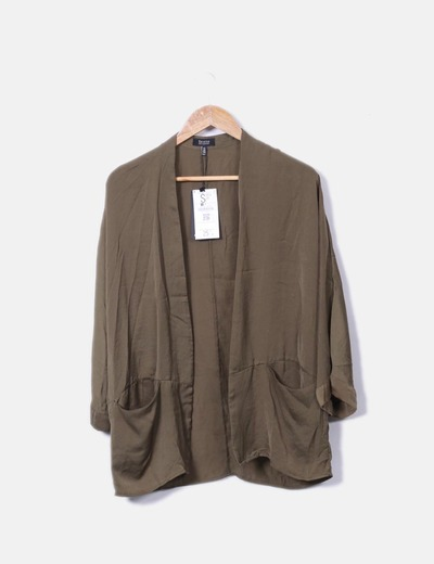 Kimono vert satin Bershka