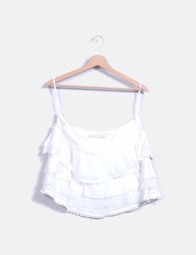 Falda mini blanca combinada  Stradivarius