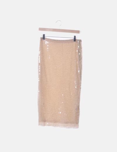Falda beige de paillettes
