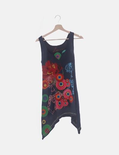 Vestido negro estampado combinado multicolor