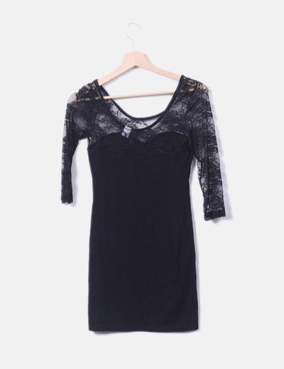 Vestido Negro Encaje Vestido Con Negro byf76g