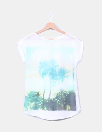 Camiseta blanca estampado tropical Lefties