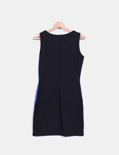 Vestido negro y azul combinado