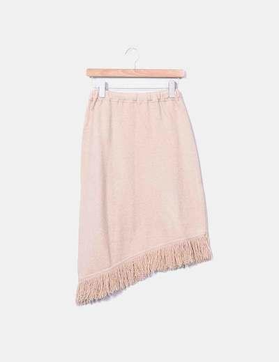 Beige tricot-Fransenrock Cami punt