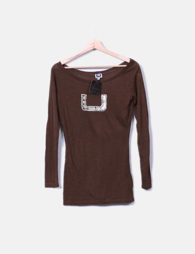 T-shirt marron imprimé à manches longues Adolfo Dominguez