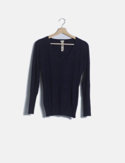 Jersey tricot azul marino escote pico