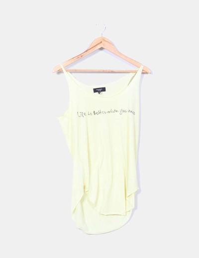 Camiseta amarillo print Mango