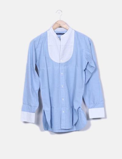 Camisa azul abotonada detalle escote Ralph Lauren