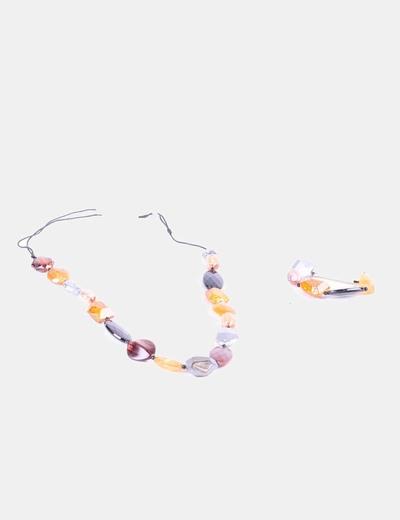 Conjunto de collar y pulseras piedras  de colores Bala Boosté