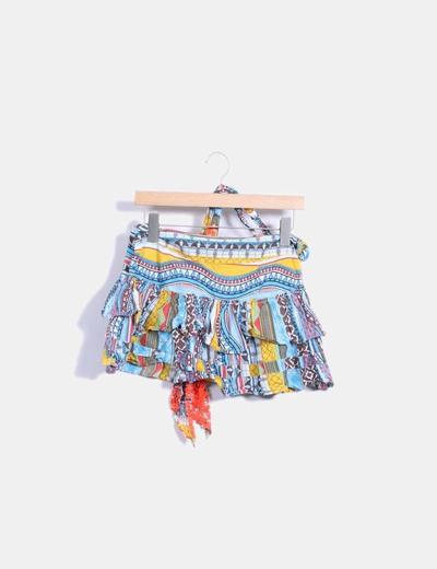 Mini falda multicolor con volantes Pepe Jeans