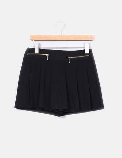 Con Cremalleras Micolet Falda Negro Pantalón 76 descuento Zara wBRZ1qxx