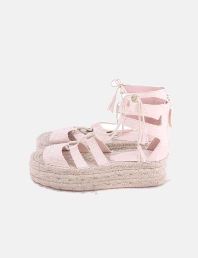 Sandalias plataforma rosa texturizada