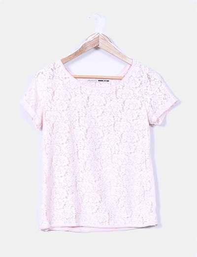 Top rosa crochet combinado Stradivarius