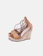 Cuña camel lace up Lady Pretty