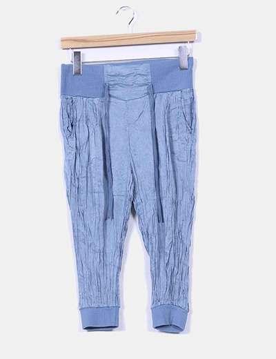 Pantalón pirata raso azul NoName