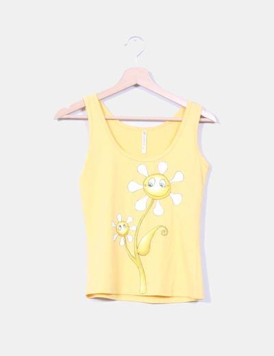 Camiseta amarilla print flores NoName