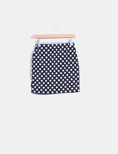 Mini falda azul marino con topos