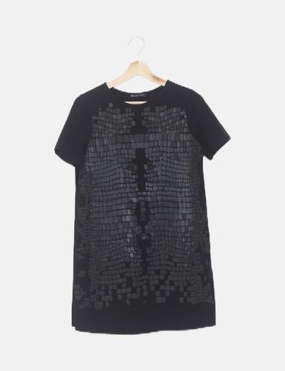 Vestido negro frontal animal print