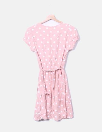Vestido midi rosa lunares