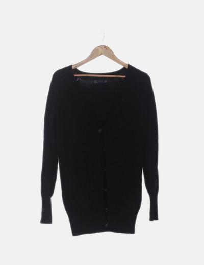 Cardigan tricot negro con botones
