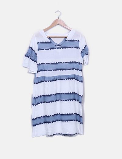 Vestido azul estampado em branco Zaful