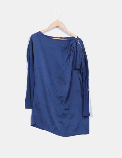 Vestido camisero satinado azul petroleo detalle cremallera Benetton