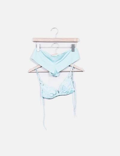Bikini azul cielo estampado NoName