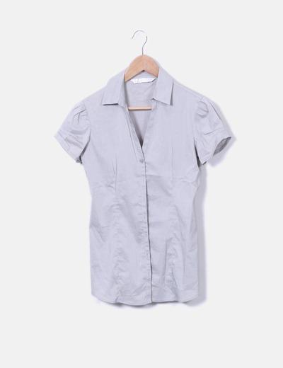 Camisa gris manga corta Stradivarius