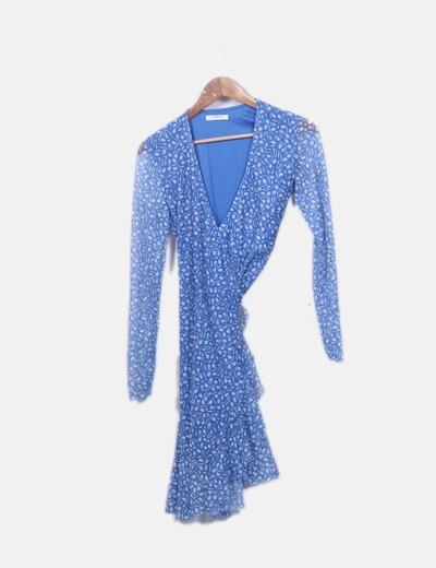 Vestido azul floral cruzado