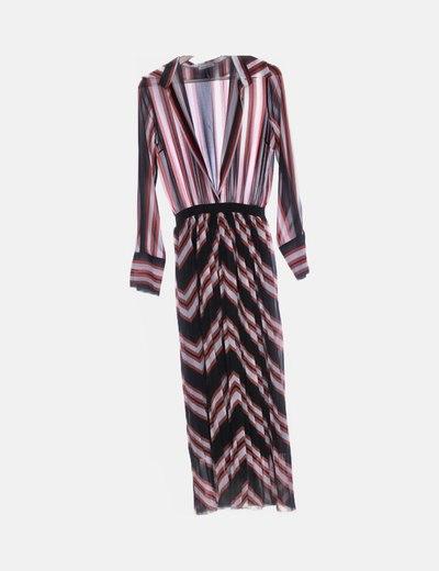 Vestido de gasa rayas tricolor