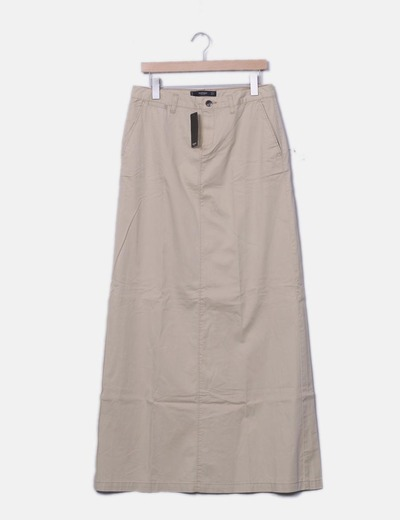 Maxi falda recta beige