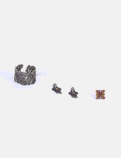Conjunto pendientes, brazalete y anillo NoName
