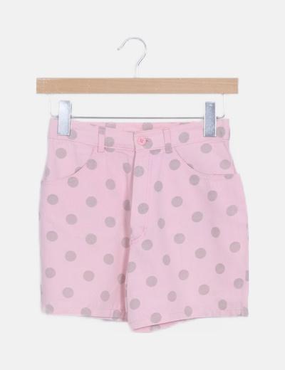 Short denim rosa topos