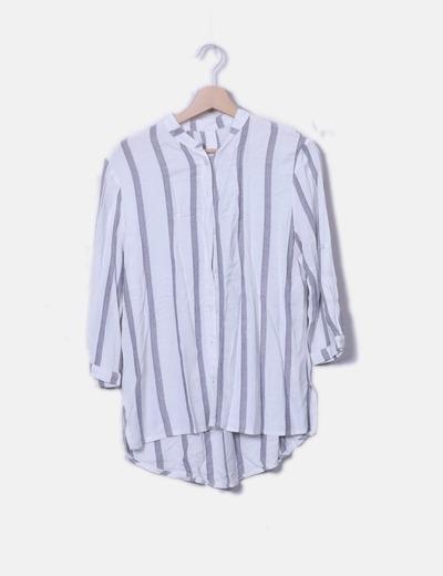 Camisa blanca rayas azules combinadas NoName