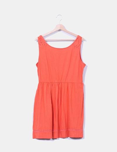 Vestido naranja con detalles de encaje Lefties
