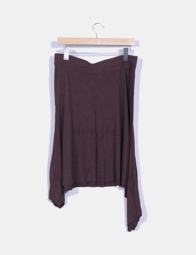 Falda midi marron asimetrica