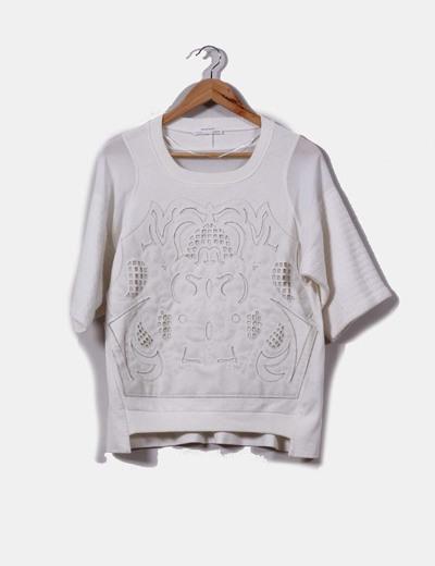 Sudadera combinada detalle polipiel  Zara