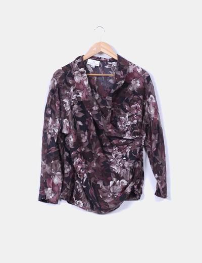 Blusa de seda floral drapeada Fiorella Rubino