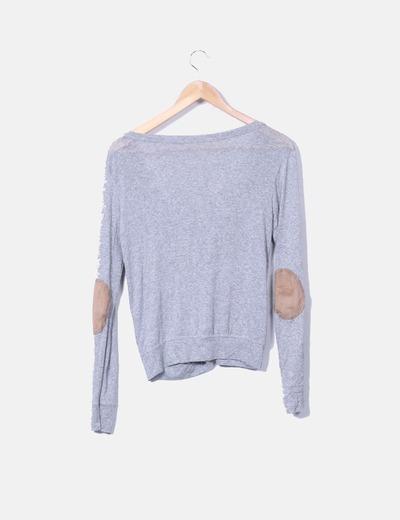 Chaqueta tricot gris con coderas