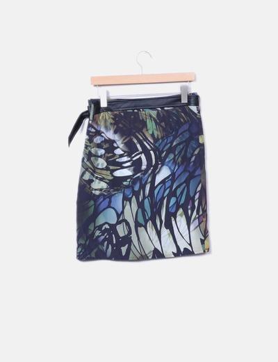 Falda animal print con cinturon de polipiel