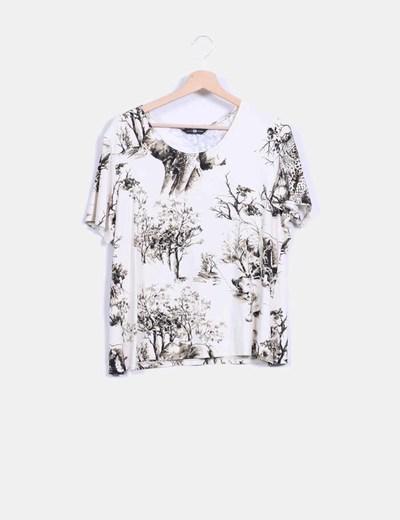 Camiseta beige estampada arboles  NoName