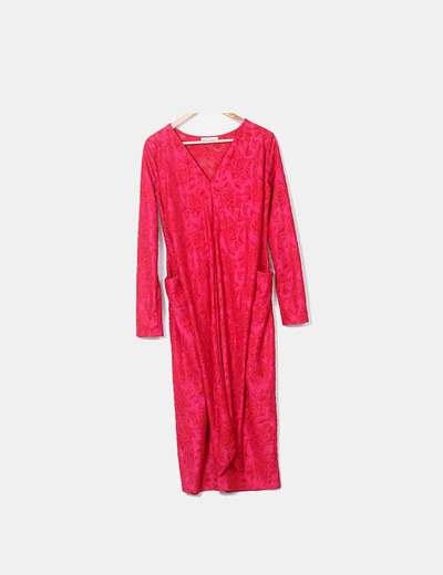 Robe fuchsia texturé maxi Zara